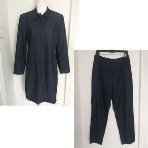 Apostrophe Navy Blue Long Duster Jacket Pant Suit